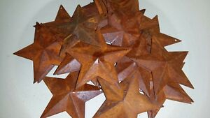 Lot Of 25 Rusty 2 25 2 1 4 Country Stars 3d Rusted Hang Hole Star