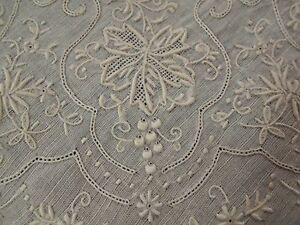 A Vtg Antique Madeira Hand Embroidered White Lace Wedding Handkerchief Hanky A