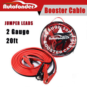 Heavy Duty 20ft Jumper Booster Cables 800amp 2 Gauge Emergency Car Battery Jump