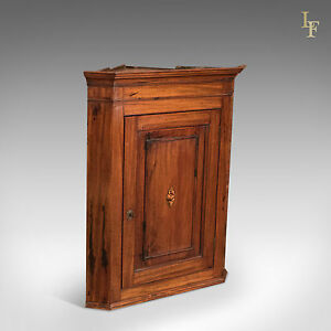 Antique Corner Cupboard English Mahogany Georgian Wall Cabinet Hanging C1800
