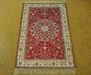 Classic Design Red Handmade 3 X 5 Silk Isfahan Area Rugs For Sale Rug