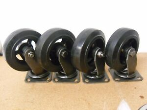 6x2 Heavy Duty Uncoated Caster Swivel Rubber Tread On Cast Iron Lot Of 4 Nos