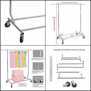 Heavy Duty Commercial Rolling Collapsible Clothing Garment Rack Clothes Hanger