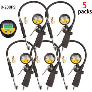 5x Portable Tire Inflator Digital Tire Pressure Gauge With Lock on Air