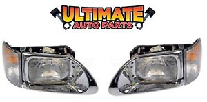 Headlights W Turn Signals Pair For 97 11 International 9100 9200 9400