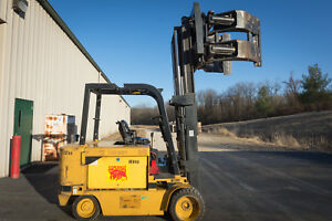 Caterpillar M120d Electric Forklift 48v 12000 Lb Charger forks paper Roll Clamp
