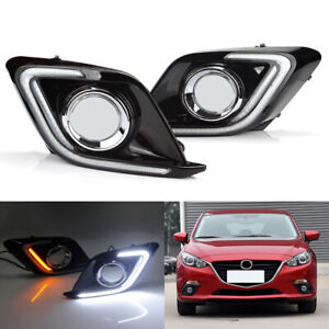 2x Car Led Drl Daytime Running Light Fog Driving Lamp For Mazda 3 Axela 14 16