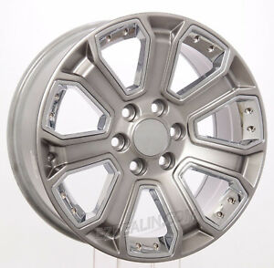 Gmc 20 Hyper Silver With Chrome Wheels Rims Fits 2000 18 Sierra Yukon Denali