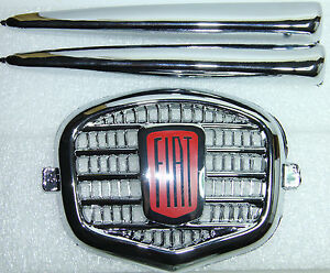 Classic Fiat 500 N D Suicide Door Front Plastic Badge Emblem 3 Pcs Wings