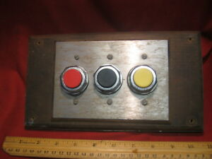 Lot Of 3 Ge Cr104p Nema A600 Block With Black Yellow Red Push Buttons Switch