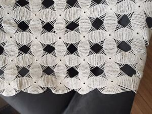 Antique White Crocheted Cotton Queen Size Bed Cover 85 X 92 Or Throw Reduced