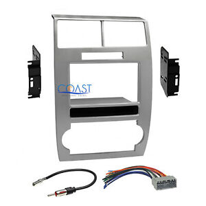 Car Radio Stereo 2din Silver Dash Kit Harness For 2005 07 Dodge Magnum Charger