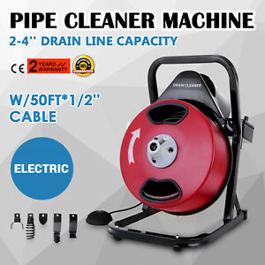 50ft 1 2 Drain Auger Pipe Cleaner Cleaning Machine Equipment Electric Sewer