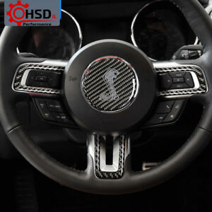 Carbon Fiber Steering Wheel Sticker For Ford Mustang 2015 17 Cobra Shelby Emblem