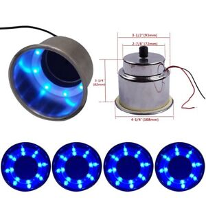 4pcs Blue Led Built in Stainless Steel Cup Drink Holder For Marine Boat Truck Rv