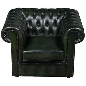 Antique Style Vintage Green Tufted Leather Club Arm Chair Buttoned Armchair Fs