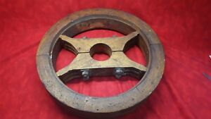 Antique Wood Flat Mill Pulley Belt Wheel Saginaw Mfg Primitive Farm Industrial