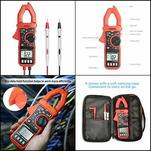 Digital Clamp Meter Auto Ranging Multimeter Ac Dc Volt Current Resistance Tester