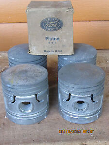 Nos Ford Flathead 6 Cylinder Pistons 1940 S 1950 S Fomoco O1 6110 0 030 O S
