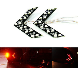 2x Red Side Mirror Smd Led Arrow Panel Car Rear View Turn Signal Indicator Light