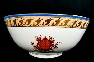 Gorgeous Large Antique Porcelain Bowl Hand Painted 10 25 Gold Anchor Mark Swag