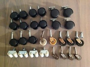 Lot Of Caster Wheels Vintage Swivel Wheels Furniture Chair Parts