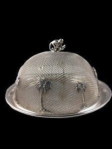 Silver Plated Round Plate Wire Mesh Shoo Fly Food Cover 4 Gourmet Spreaders
