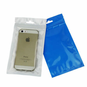 Blue Clear Plastic Packaging Bags For Jewelry Phone Case W Hang Hole Resealable