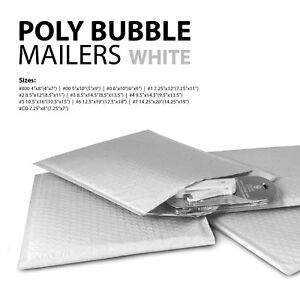 All Sizes White Poly Bubble Mailers 000 00 0 cd 1 2 3 4 5 6 7 Padded