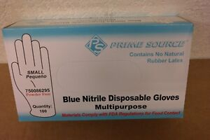 10 Boxes Prime Source Blue Nitrile Disposable Gloves Small Powder Free 1000 Pcs
