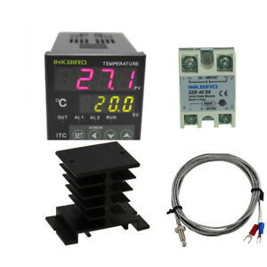 Pid Temperature Controller K Sensor 40 Ssr Heat Sink Heater Probe Thermostat