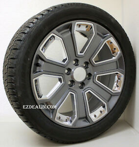 Chevy Silverado 22 Gunmetal Chrome Wheels Bridgestone Tires Tahoe Suburban