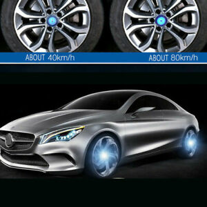 4 For Mercedes 75mm Wheels Center Hub Caps Led Blue Light Emblem Hubcaps Cover