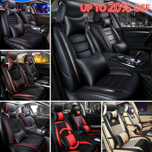 Auto Deluxe Pu Leather 5 Seats Car Seat Covers Front Rear Cushion Mat Pillows