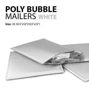 Poly Bubble Mailer 5 10 5 x16 10 5 x15 Padded Mailing Bags Envelopes White