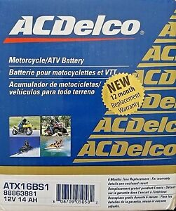 Acdelco Atx16bs1 Specialty Agm Powersports Jis 16 Bs 1 Battery