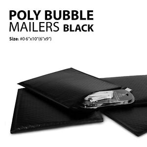 Poly Bubble Mailer 0 6 x10 6 x9 Padded Mailing Bags Envelopes Black