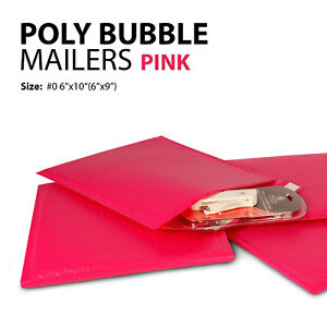 Poly Bubble Mailer 0 6 x10 6 x9 Padded Mailing Bags Envelopes Pink