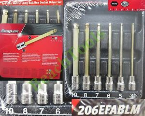 New Snap On 3 8 Long Metric Ball Hex Bit Socket Driver 6 Pcs Set 206efablm