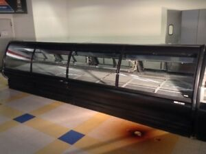 40 Ft Fresh Meat Deli Fish Cases Gravity Coil Curve Lift Up Glass Tyler