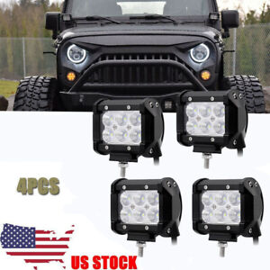 4x 4inch Cube Pod Flood Led Driving Fog Lights Off Road Work Light Jeep Wrangler