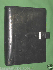 Classic 1 25 Black W Gold Floral Leather Franklin Covey Planner Binder 4340