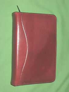 Compact 1 0 6 Ring Red Leather Scully Planner Binder Franklin Covey 9292
