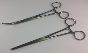 2 Rochester Carmalt Hemostat Forceps 8 Straight Curved German Surgical