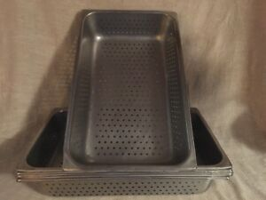 Lot Of 6 full Size Perforated Steam Table Pans 4 Inch Deep good Used Condition