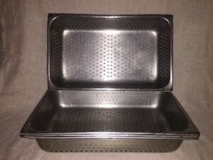 Lot Of 4 full Size Perforated Steam Table Pans 4 Inch Deep good Used Condition