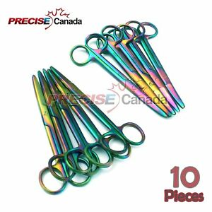 Stainless Steel Rainbow Mayo Scissors Str Cvd Titanium Color pack Of 10 Pcs