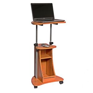 Adjustable Height Laptop Cart With Storage Color Wood Grain Portable Podium
