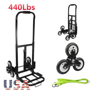 440lbs Heavy Duty Portable Stair Cart Climb Hand Truck Dolly W Wheels Free Rope