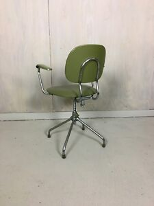 Mid Century Modern Vinyl And Chrome Office Chair